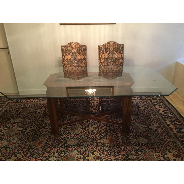 Macy's Glass Table w/ Wood Base
