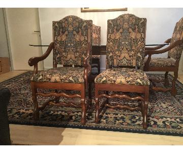 Macy's French Wood Chairs w/ Renaissance Style Tapestry