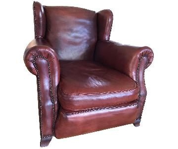 Custom Made Distressed Leather Armchairs w/ Ottoman