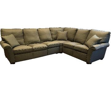 Stickley and Audi 3 Piece Green Reclining Sectional Sofa