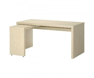 Ikea Malm White Desk w/ Pull Out Panel