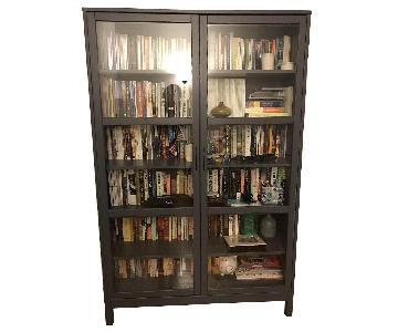 Wood Grey Bookcase w/ Doors