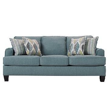 Raymour & Flanigan Light Blue Fabric Sofa