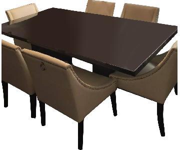 Italian Dark Brown Wood Dining Table