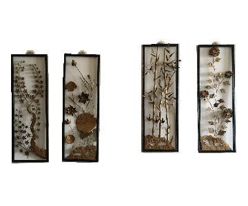 Vintage Mid-Century Metal Floral 4 Wall Panels