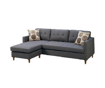Grey Linen 2-Piece Reversible Sectional Sofa