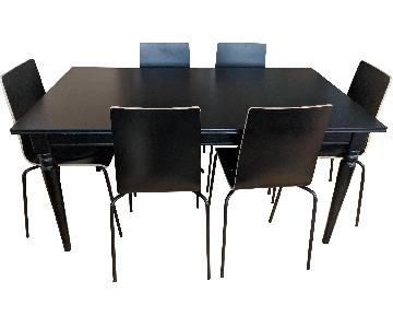 Ikea Ingatorp Black Extendable Dining Table w/ 6 Chairs
