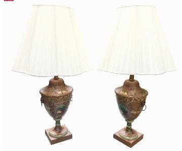 Hand Painted Regency Style Tole Lamps
