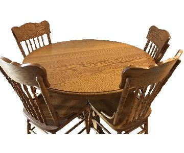 Ethan Allen Oak Dining Table w/ 4 Oak Chairs