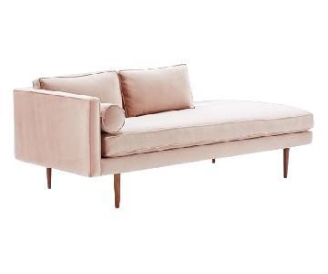 West Elm Mid-Century Left Arm Chaise Lounge in Luster Velvet