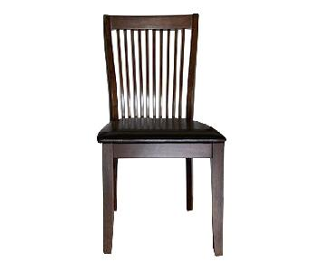 Raymour & Flanigan Wood & Faux Leather Dining Chairs