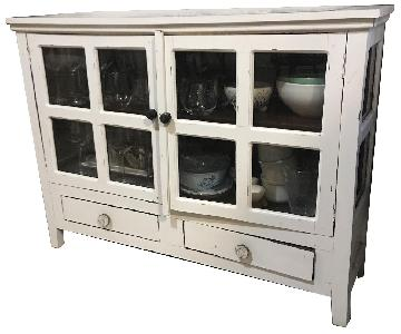 Home Goods White Wooden Framed Glass Display Cabinet