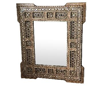 Vintage Syrian Wood Mirror w/ Inlaid Mother-Of-Pearl