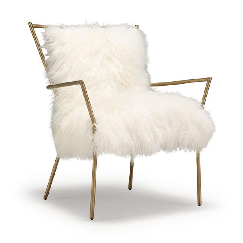 Mitchell Gold + Bob Williams Brass/White Tib Fur Ansel Chair