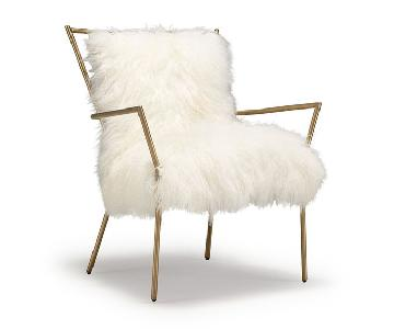 Mitchell Gold + Bob Williams Brass/White Tib Fur Ansel Chair