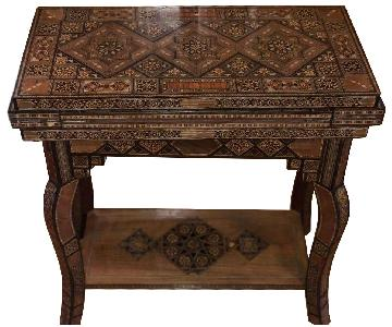 Vintage Syrian Wood Inlaid Game Table