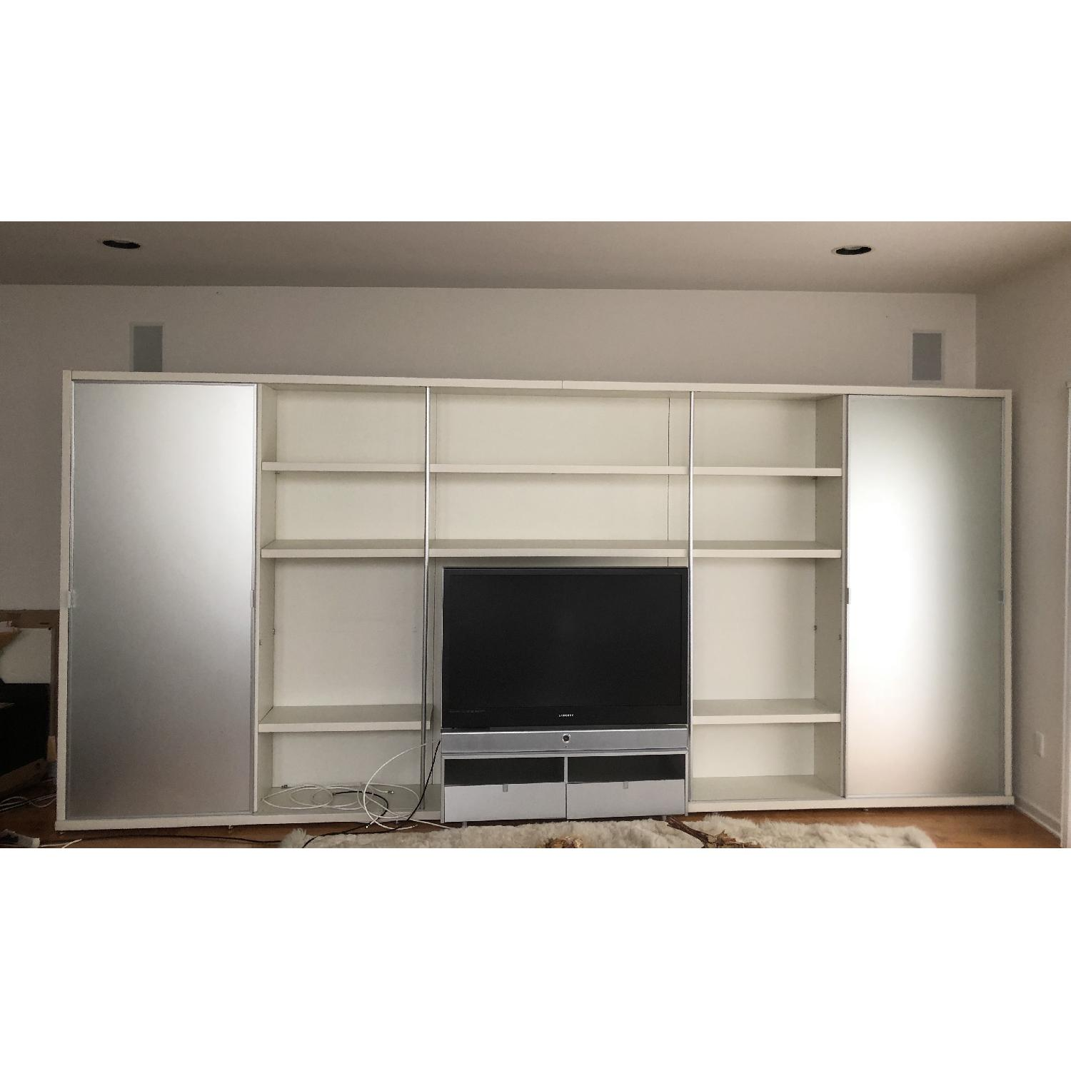 DDC NYC Modern Contemporary Frosted Glass Media Wall Unit - image-1