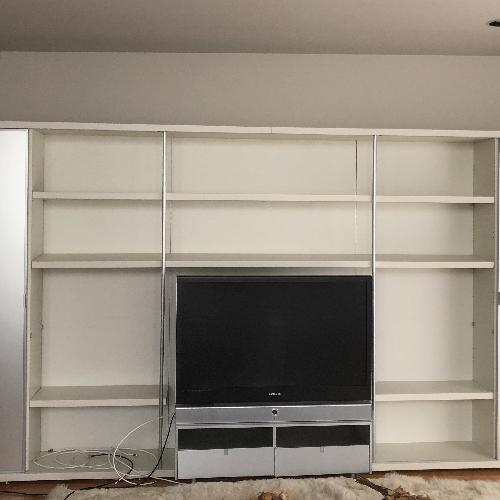 Used DDC NYC Modern Contemporary Frosted Glass Media Wall Unit for sale on AptDeco