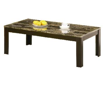 Coaster Grey Marble Coffee Table + 2 Matching End Tables