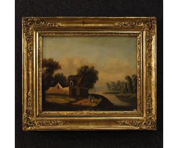 Antique 19th C French Painting Landscape w/ Characters