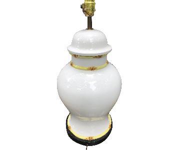 Mid Century Chinoiserie Chic Large Ceramic Bamboo Urn Lamp