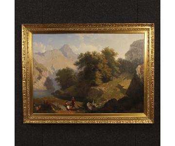 Carlo Piacenza 19th Century Oil on Canvas Landscape Painting