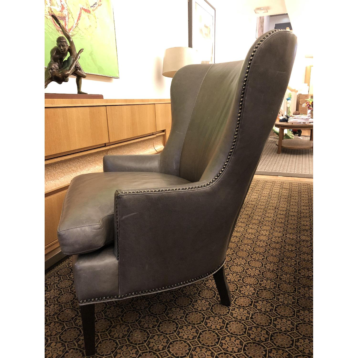 Crate & Barrel Dylan Leather Armchair w/ Metal Studs-1