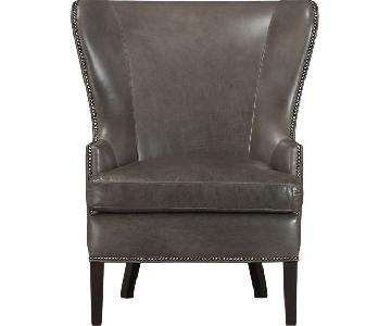 Crate & Barrel Dylan Leather Armchair w/ Metal Studs