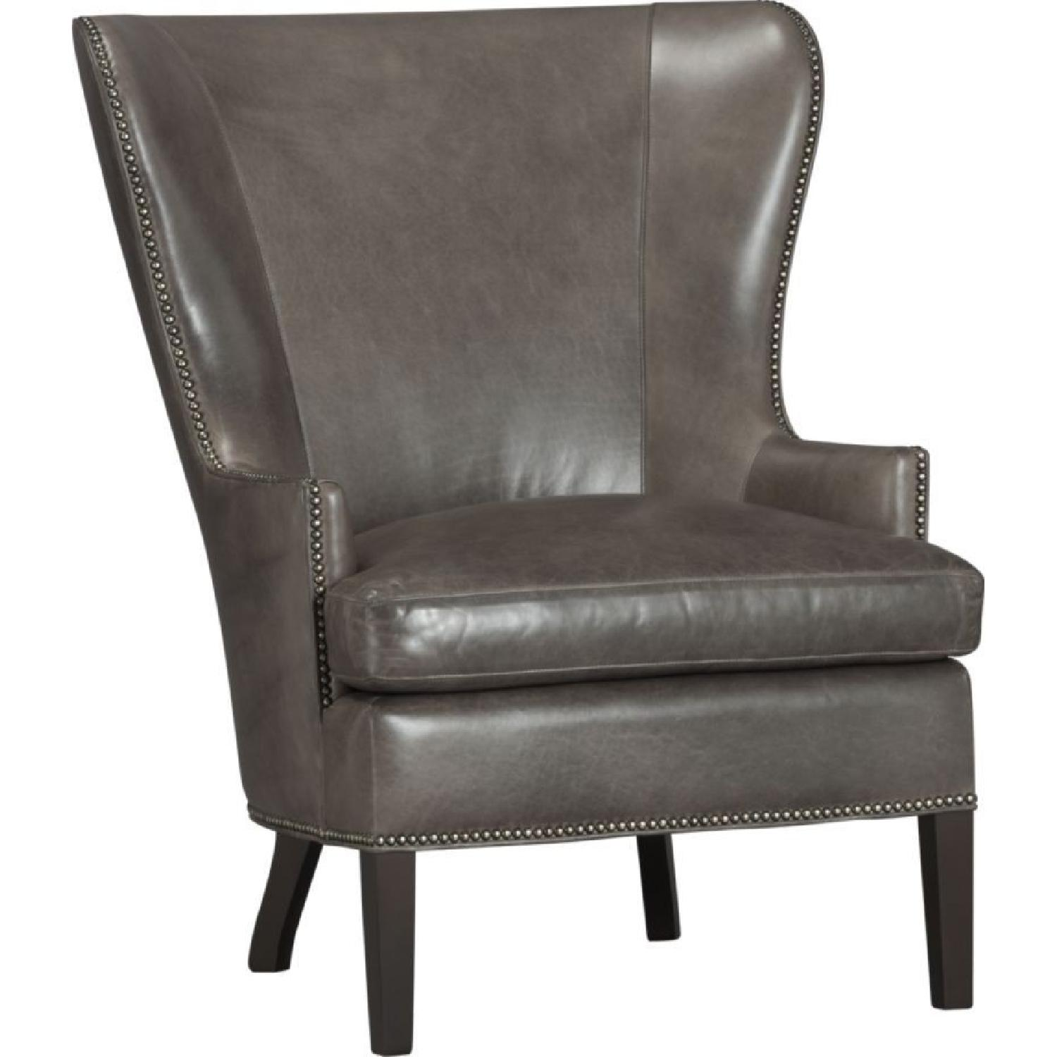 Crate & Barrel Dylan Leather Armchair w/ Metal Studs-4