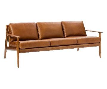 West Elm Mathias Mid-Century Wood Frame Leather Sofa
