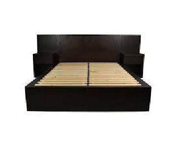 West Elm Contemporary Wood Storage Bed w/ Nightstands