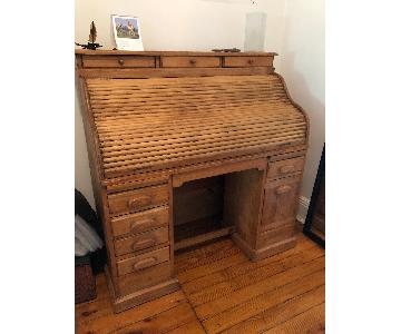 Vintage Wooden Roll Top Desk