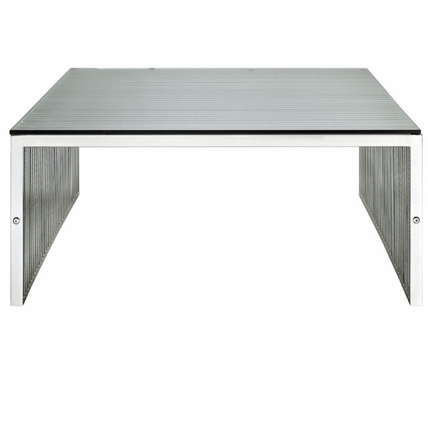 Modway Metal Coffee Table W/ Tempered Glass Top ...