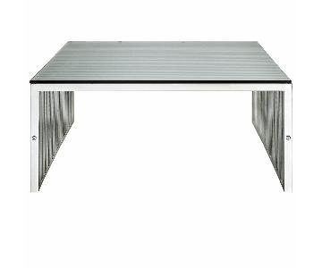 Modway Metal Coffee Table w/ Tempered Glass Top