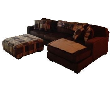 Brown Chaise Sectional Sofa & Ottoman