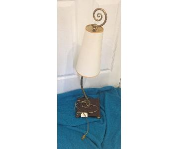 Wil Shepherd Gooseneck Brass Copper Table Lamp w/ Shade