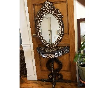Vintage Syrian Wood & Mother-Of-Pearl Table & Mirror