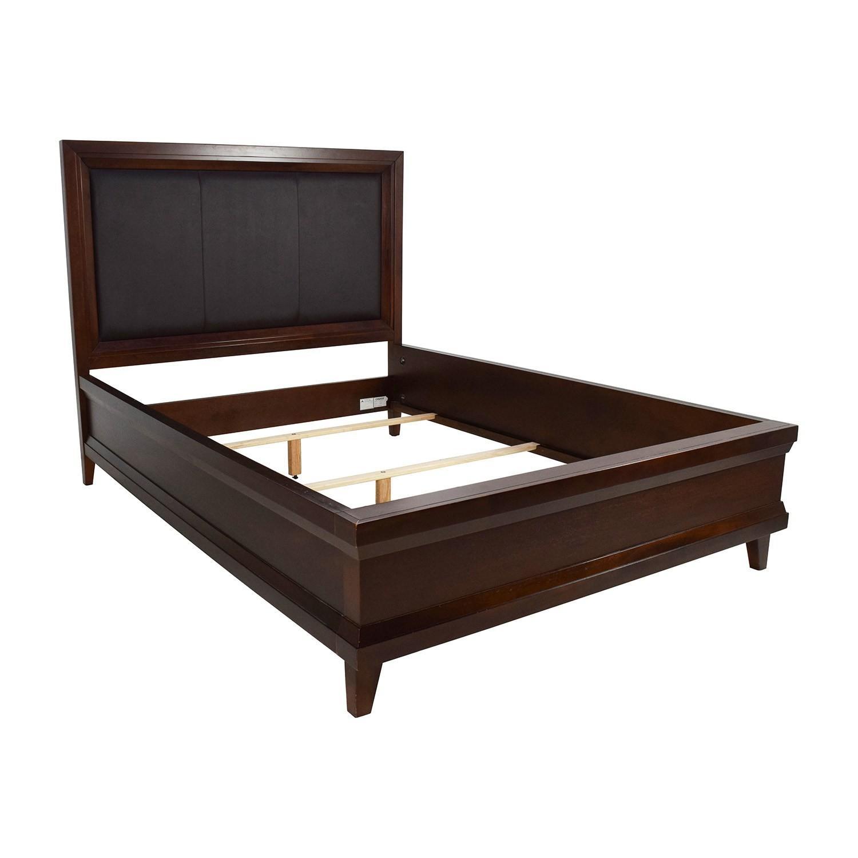 Raymour U0026 Flanigan Leather U0026 Wood Queen Bed ...