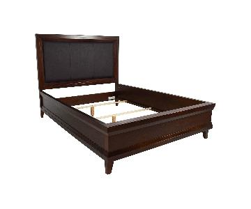 Raymour & Flanigan Leather & Wood Queen Bed
