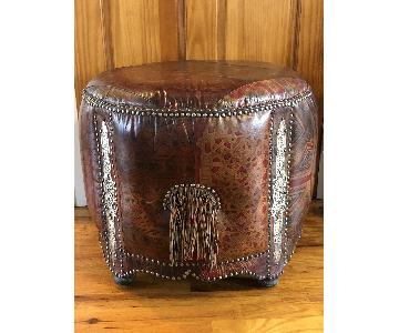 Moroccan Painted Leather Poufs