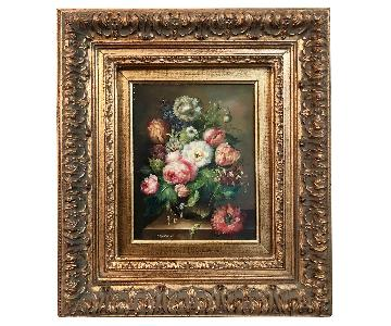 Ornately Framed Floral Bouquet Oil Painting