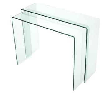 Chintaly Nested Bent Glass Console Tables