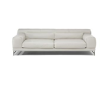 Natuzzi Modern White Leather Sofa