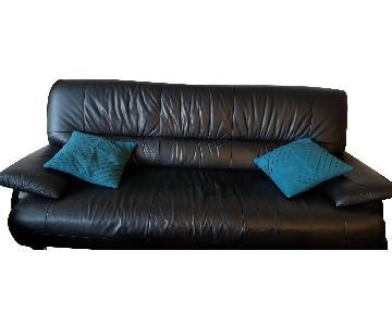 Modern Black Italian Leather Sofa