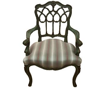 Theodore Alexander Vintage Style Armchair w/ Fabric Seat