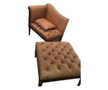 Theodore Alexander Leather Tufted Armchair & Ottoman