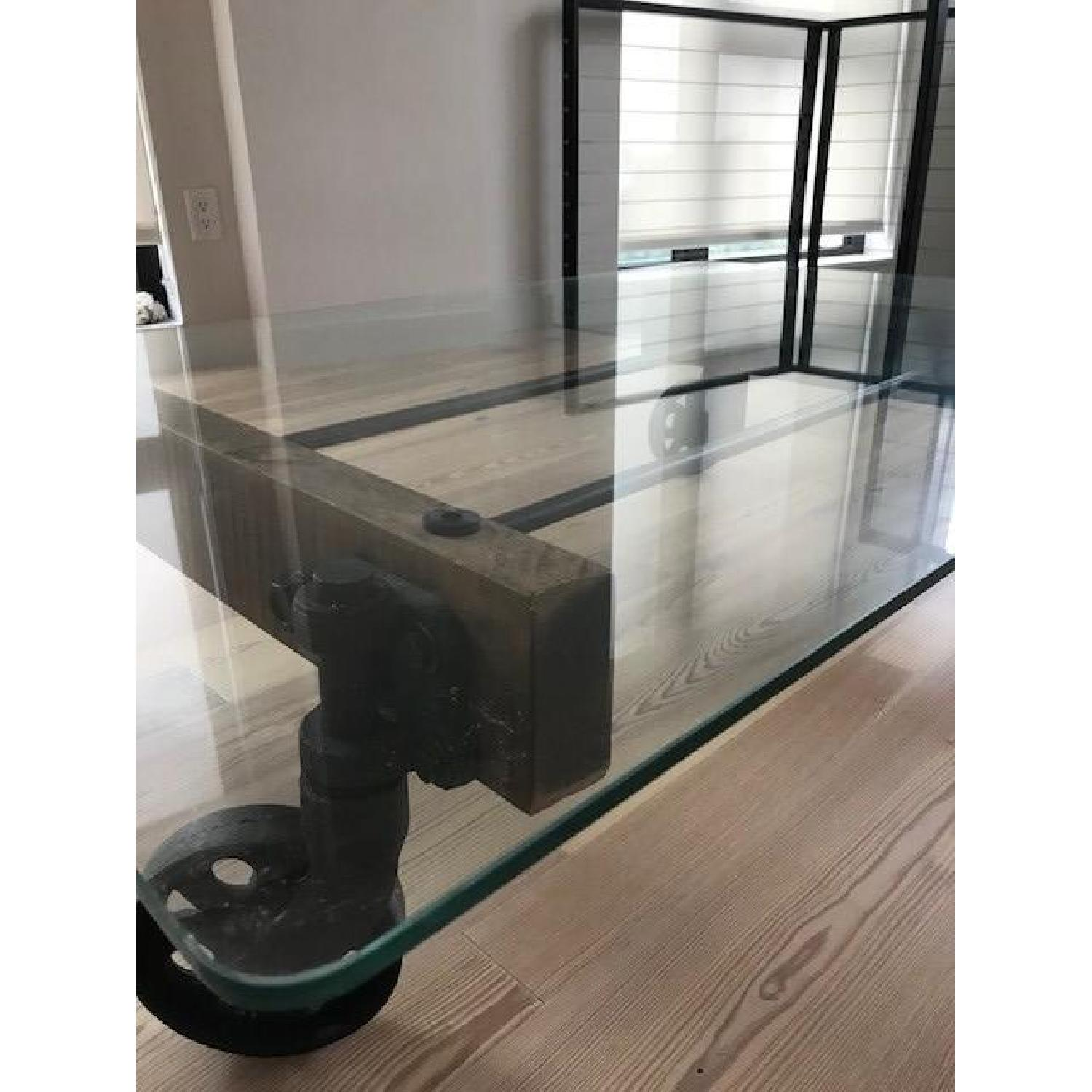 ABC Carpet and Home Rustic Glass Coffee Table on Wheels-1