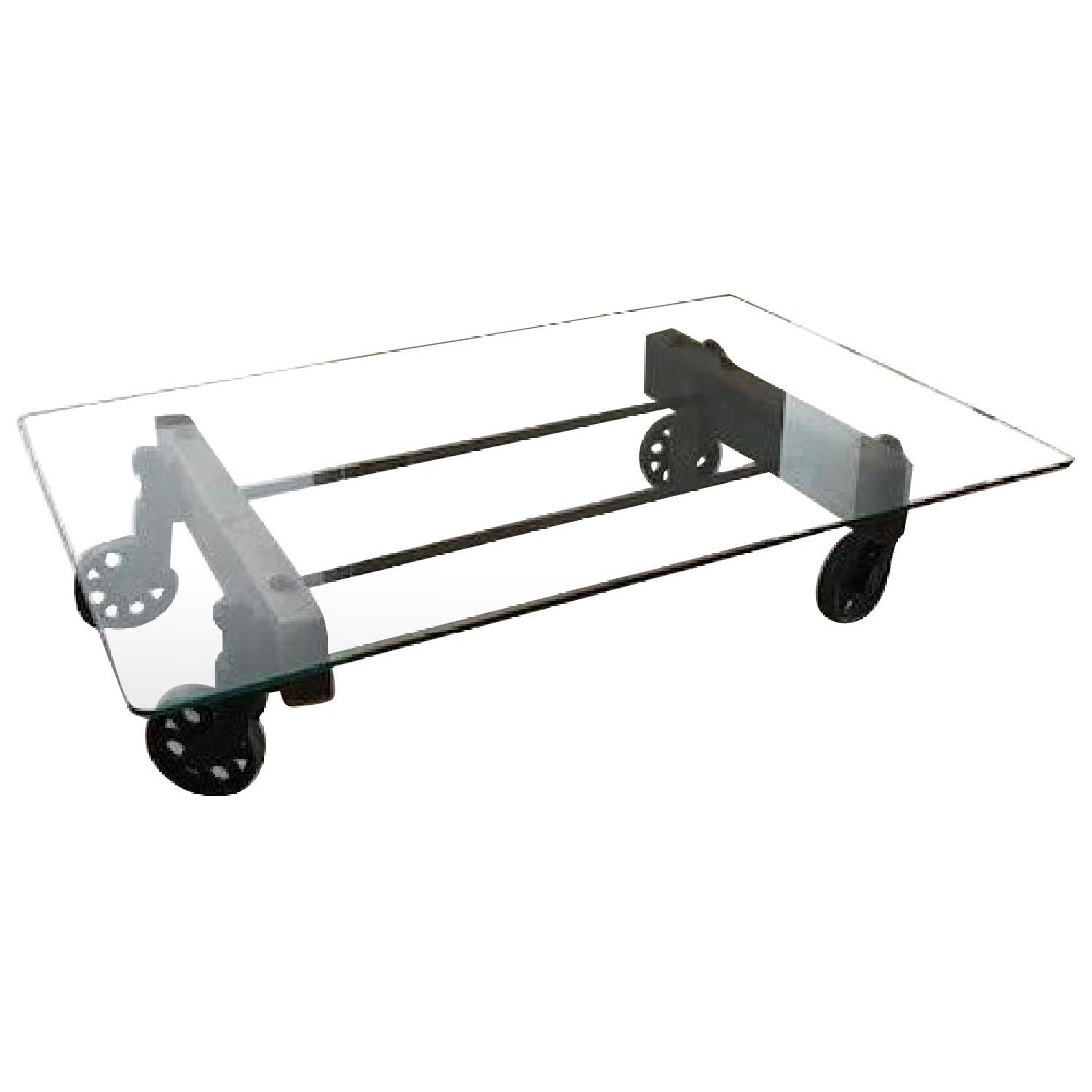 ABC Carpet and Home Rustic Glass Coffee Table on Wheels