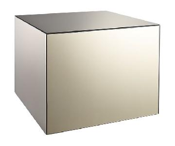 CB2 Cube Mirrored Side Table