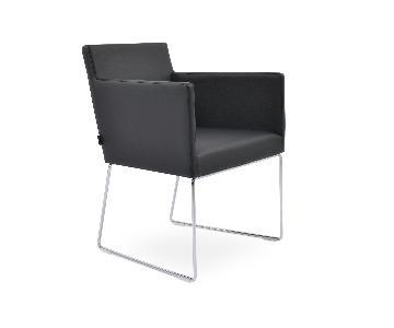 SohoConcept Black Leatherette Armchairs